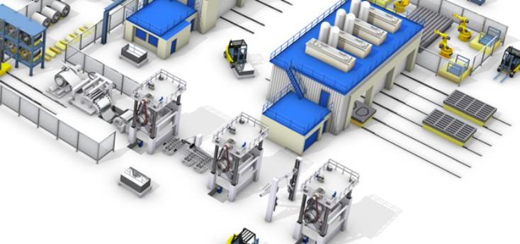 Aperçu d'une usine équipée par Rexroth